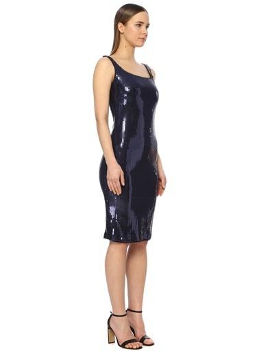 NetWork Kadın 1073405 Slim Fit Payetli Midi Abiye Elbise İndigo